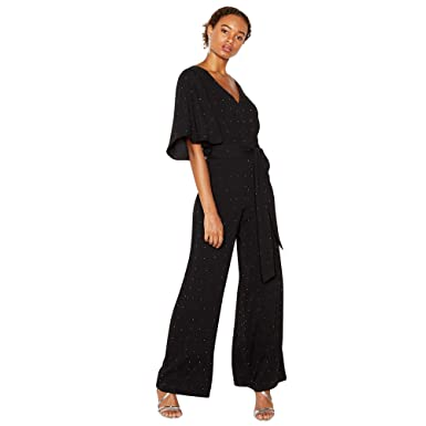 Debut Womens Black Silver Studded Angel Jumpsuit 6 Debut Amazon