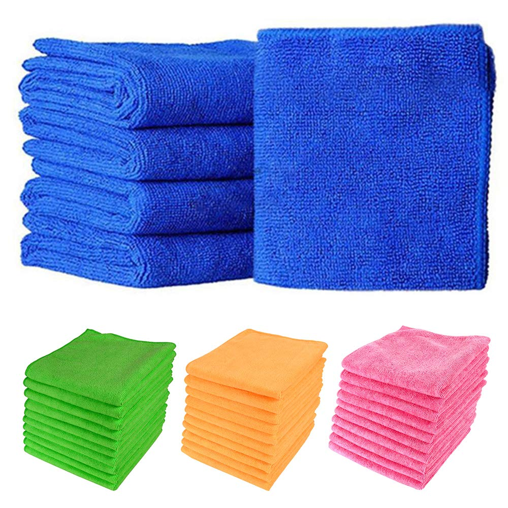 Global Sales Store Large Microfibre Cleaning Cloth Towel Car Valeting Polish 300gsm (Blue, 10)