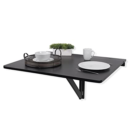 Fasthomegoods WALLNITURE Drop Leaf Dining Table Wall Mounted Workstation  Solid Pine Wood Black Large 36x30 Inches