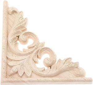 1-Pack Wood Carved Decal Furniture Applique Corner Onlay, 11x11cm/4.33