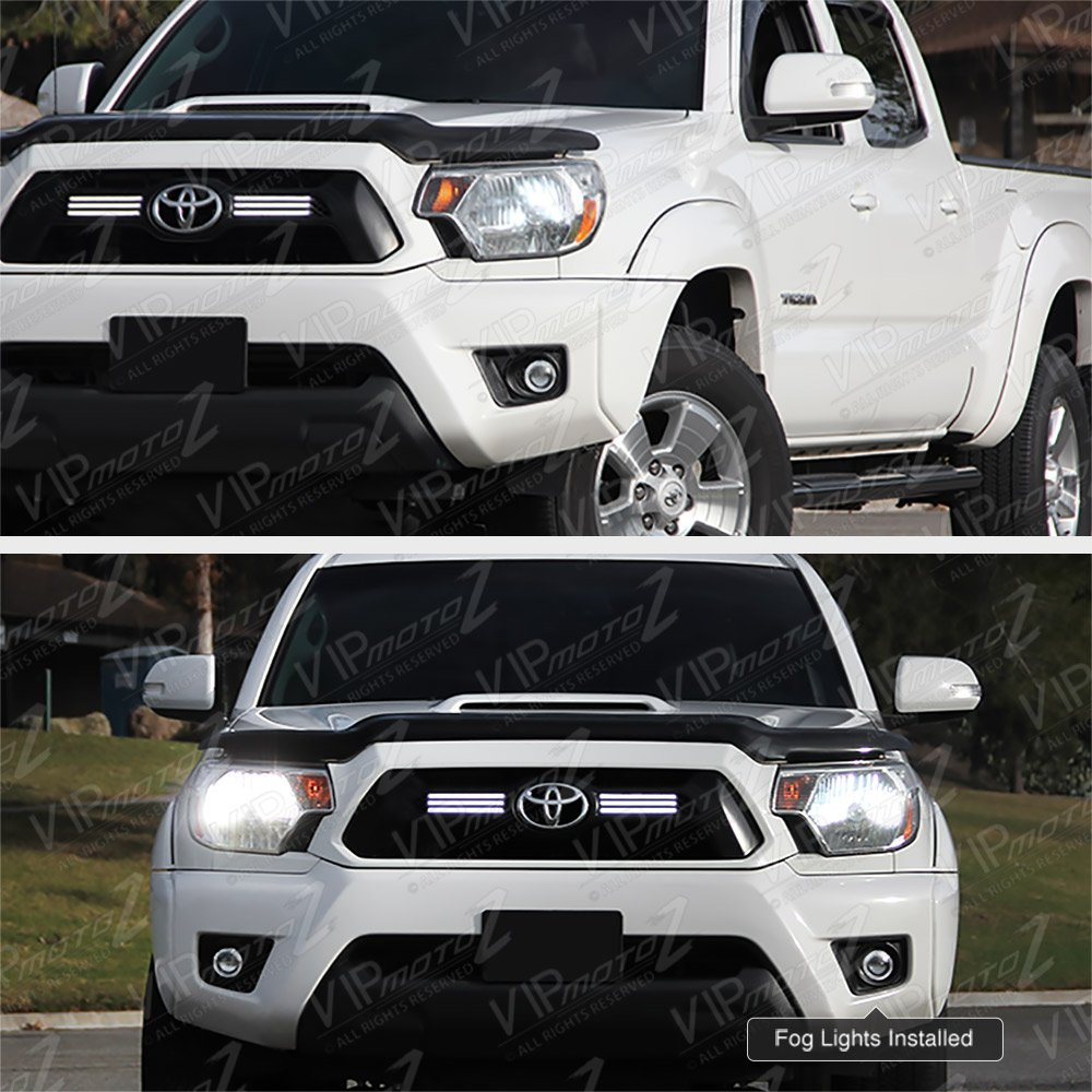 VIPMOTOZ Full-LED Front Fog Light Driving Lamp Assembly w//Bezel For 2012-2015 Toyota Tacoma Driver /& Passenger Side Power Switch /& Universal Wiring Included