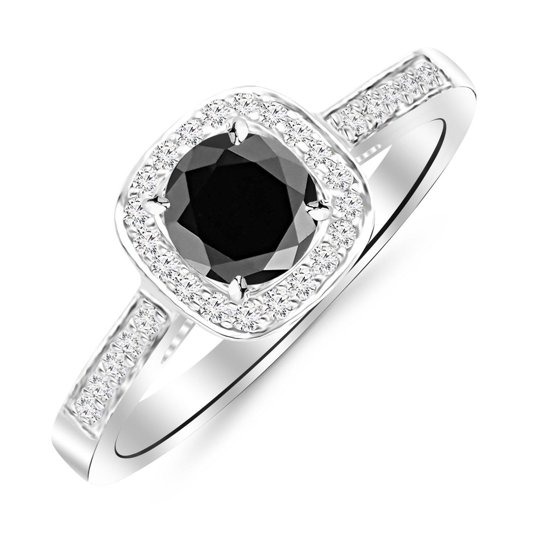 Platinum Classic Square Halo Single Row Pave Set Diamond Engaement Ring with a 3 Carat Black Diamond Heirloom Quality Center