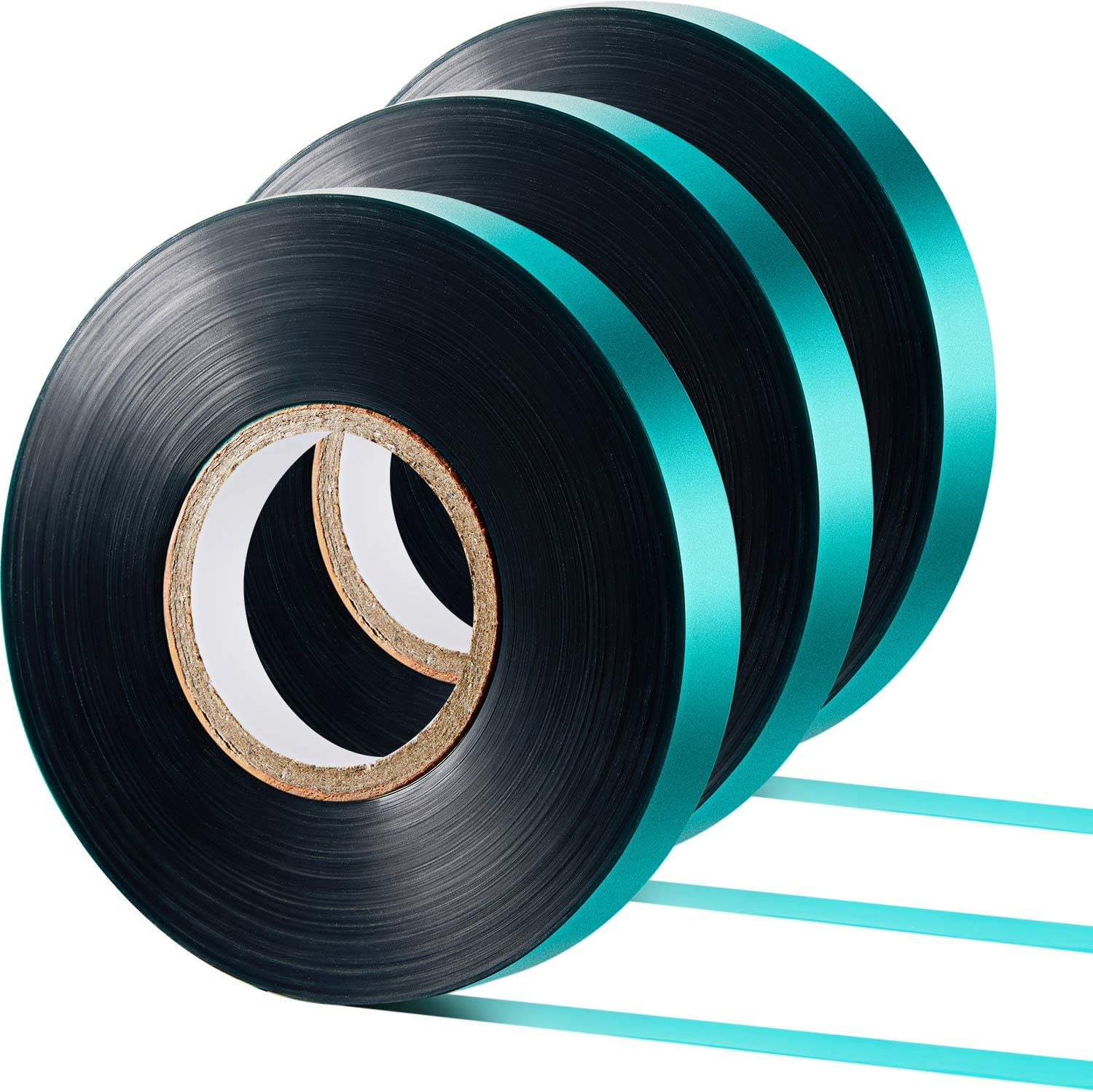 3 Rolls 147 ft x 1/2 Inch Stretch Garden Tie Tape Garden Tape Plant Tie 4 mil Thick Ribbon Green Vinyl Stake for Plant Use