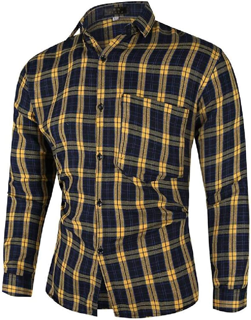 Fubotevic Mens Shirts Slim Lapel Button Down Printing Long Sleeve Shirts