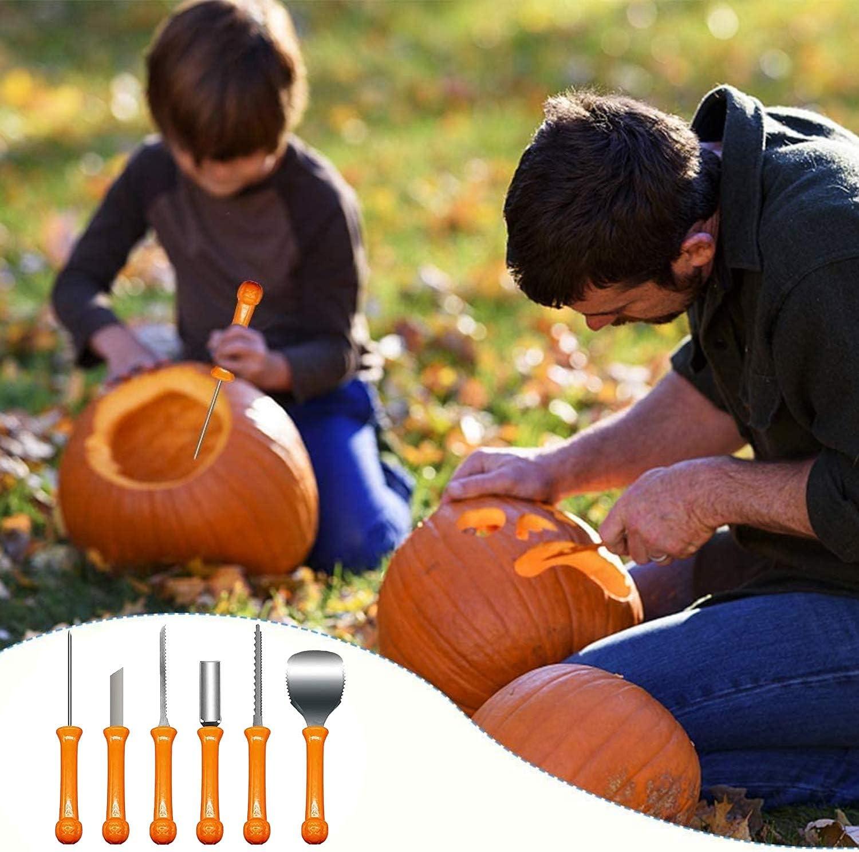 HIQE-FL 6St/ück K/ürbis Schnitzset Kit,Edelstahl Halloween K/ürbis Schnitzwerkzeug,K/ürbis Schnitzwerkzeuge,Jack-O-Lantern f/ür Kinder Halloween Dekoration