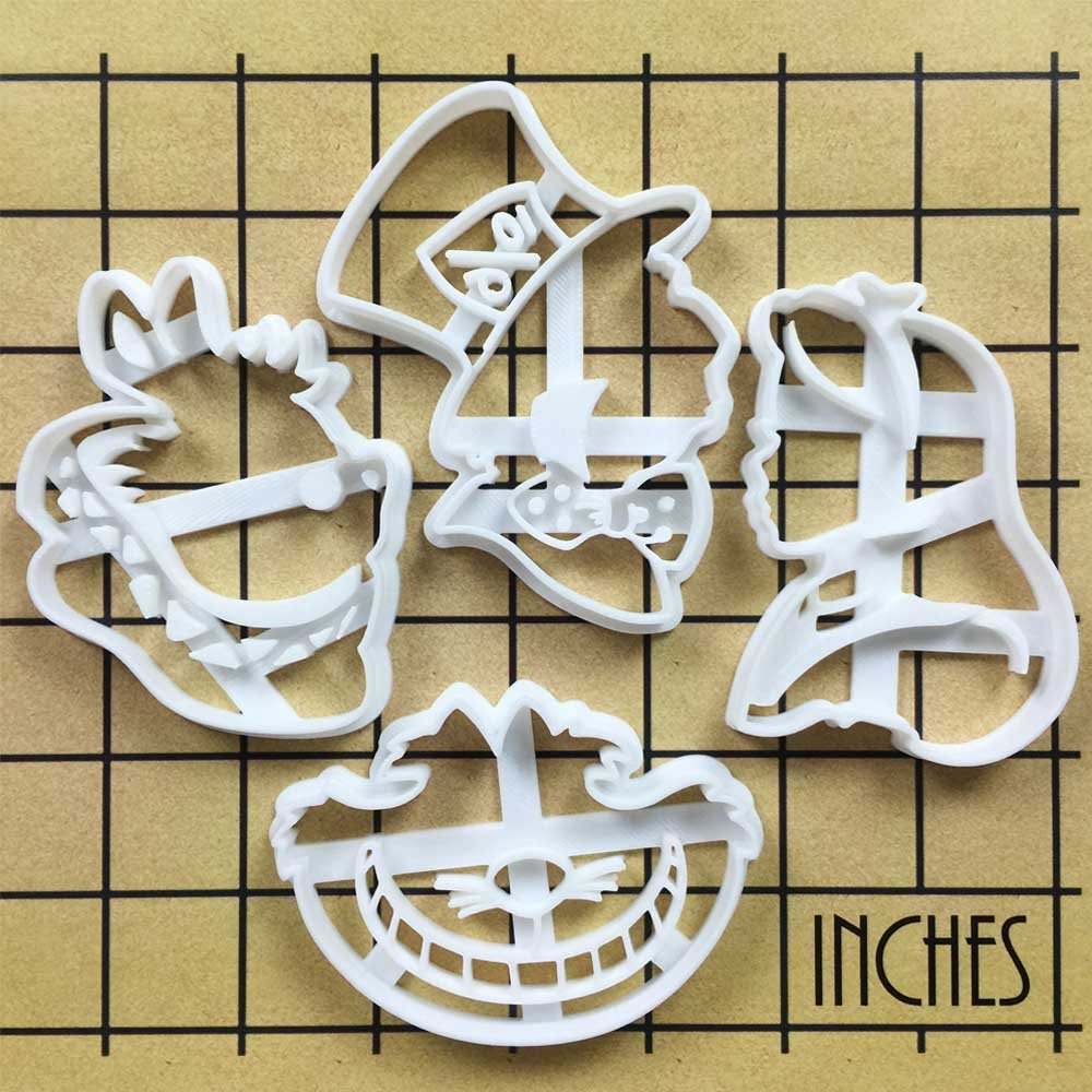 FULL SET of 4 Characters Cookie Cutters inspired by ''Alice's Adventures in Wonderland'' novel by Lewis Carroll, 4 pcs, Includes Alice, Mad Hatter, Cheshire, and White Rabbit characters by Bespoked Curations (Image #3)