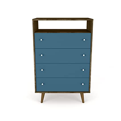 Manhattan Comfort 209BMC93 Liberty Modern 4 Drawer Bedroom Dresser and TV  Stand Brown/Blue