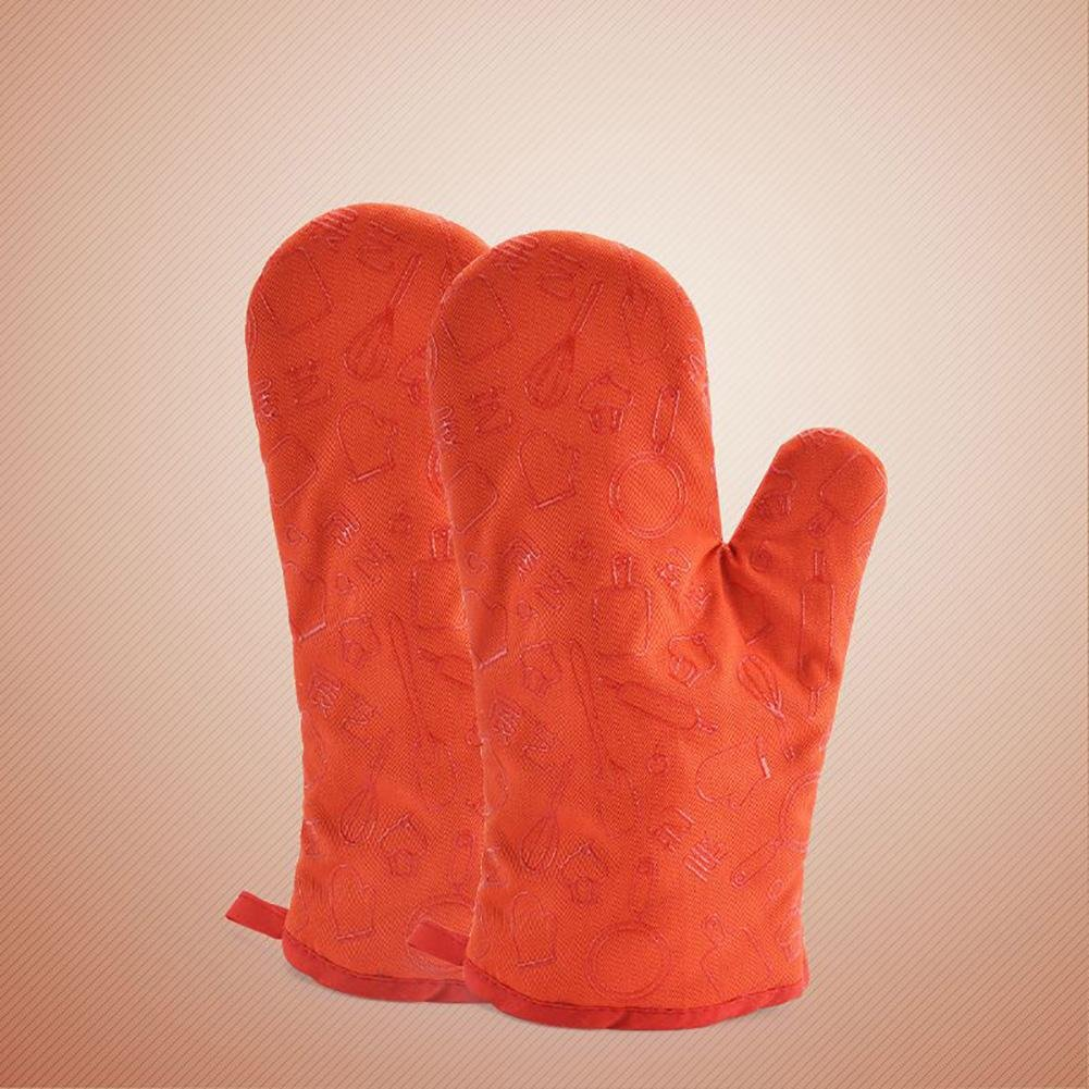JZDCSCDNS Oven Gloves Anti-hot High Temperature Flame Retardant Wear-resistant Tear-resistant Non-slip Mesh Silicone Microwave Oven Baking Potholders Thickening Polyester-cotton Twill Fabric , Orange
