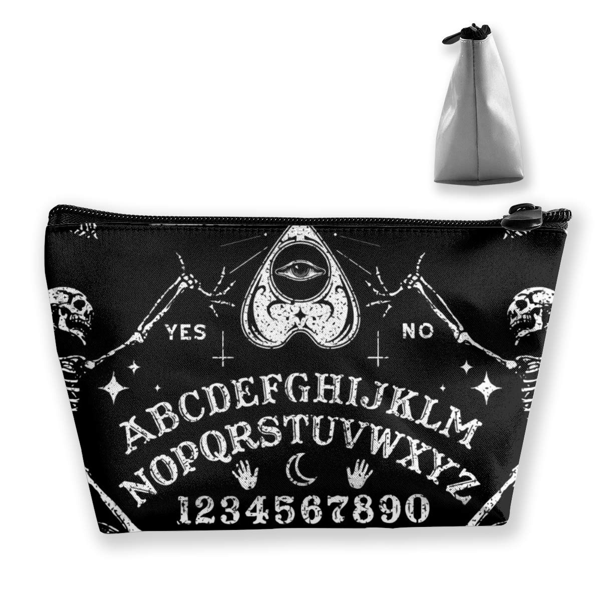 Women Vintage Skeleton Magic Ouija Board Black Make Up Bag Organizer Multi-Purpose Cosmetic Train Case Fashion Zipper Tote Bag Large Capacity for Cosmetics Jewelry Trip