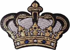 Gosear Exquisito Lentejuelas Ropa Parches Pegatinas patrón de la Corona Bordado DIY Iron-on Parche para Ropa ...