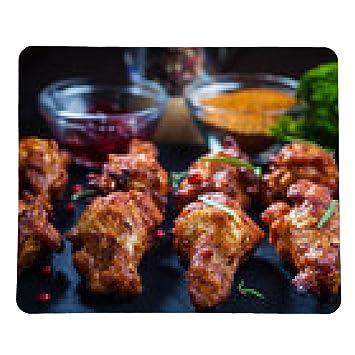 alfombrilla de ratón alitas de pollo barbacoa con especias y salsa - rectangular - 23cm x