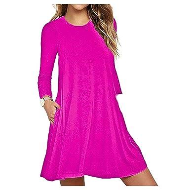 e05f9d19077b Papaval Women s Long Sleeve Pockets Casual Skater Top Plain   Printed Dress  Summer Dress Size 8