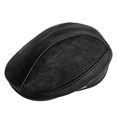 8cce613f8784f5 LETHMIK Flat IVY Cap Genuine Leather Classic newsboy Cap Cabbie Hat Driver  Black-Small