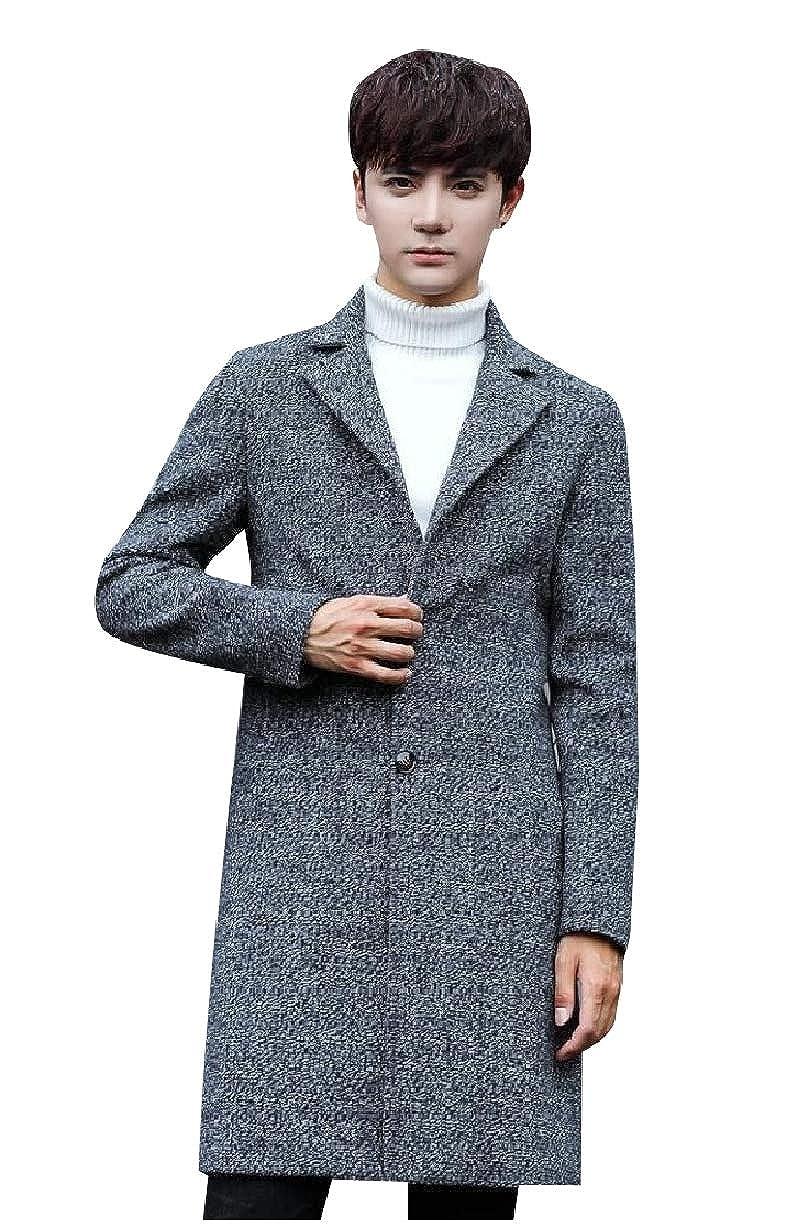 Grey Mfasica Mens Mid-Long Trench Jacket Wool Blended Single-Breasted Overcoat Overcoat Overcoat 4eba09