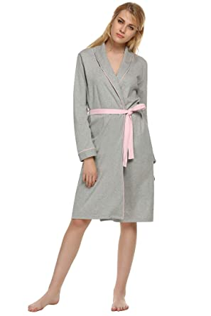 Ekouaer Women s Bathrobe Lightweight Knit Spa Bath Robe 100% Cotton Gray XXL fc656510c