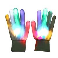 Vicloon LED Gants Lumineux/Coloré, LED Rave Eclairage Clignotant/Multi Couleur pour Fête / Club / Soireé / Noël / Course / Halloween