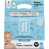 Hello Bello Baby Wipes, Fragrance Free, Hypoallergenic, 99%+ Water, Unscented Wipes,180 Count