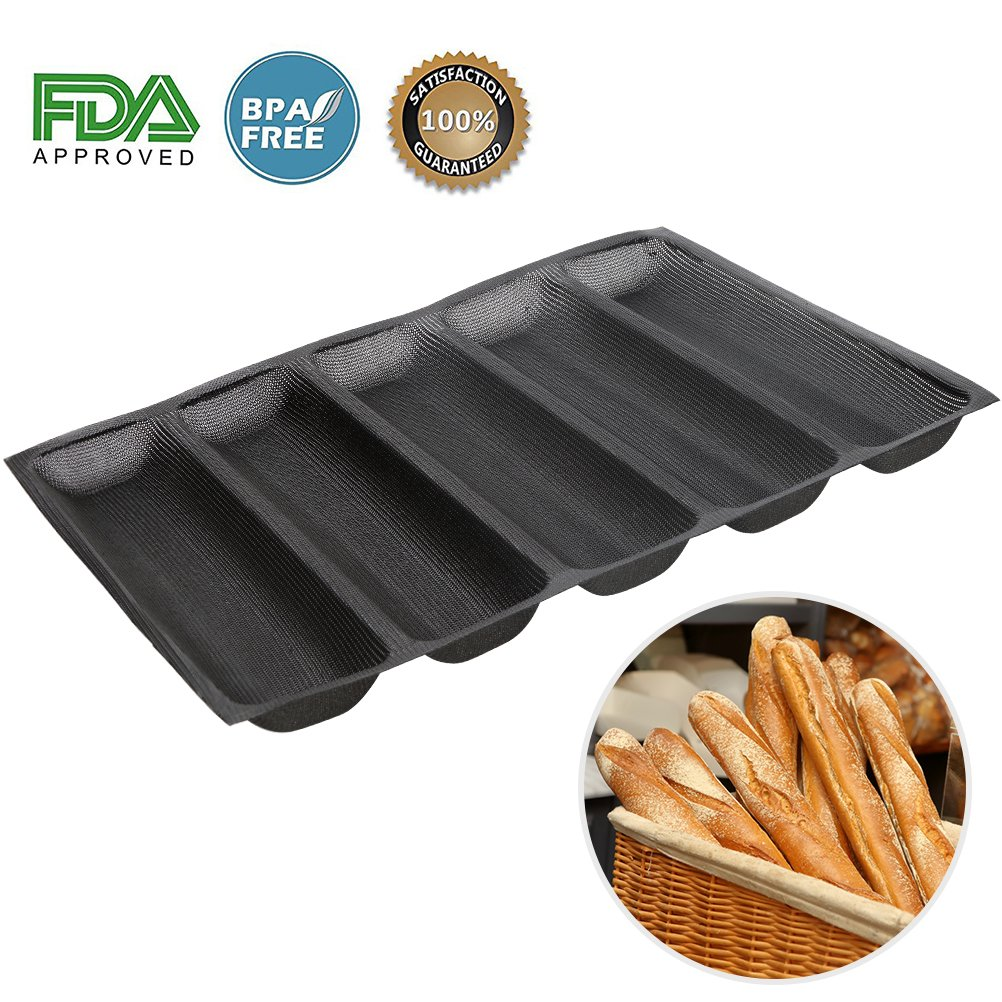 Silicone Baguette Pan - Non-stick Perforated Fench Bread Pan Forms , Hot Dog Molds , Baking Liners Mat Bread Mould (5 Loaf, Black) Baker Boutique