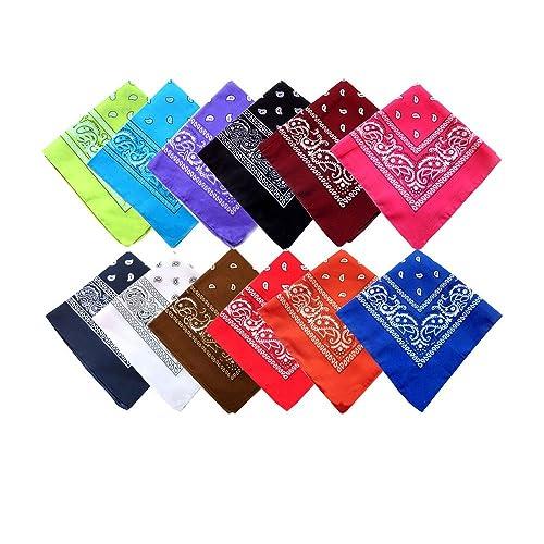 JIURUN (100% Algodón) Pack 12 pcs Pañuelos Bandanas de Modelo de Paisley para Cuello / Cabeza - Mult...