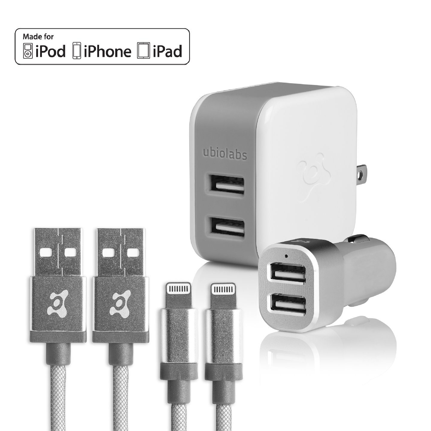 Ubio Labs MFi Certified Lightning cable kit for iPhone/iPad/iPod. Long six foot (6') braided charge/sync cord with high-speed dual USB wall and car charger. 2.4A /4.8A (24W) output for fast charge.
