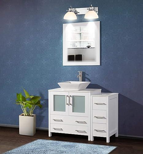 Amazon.com: Vanity Art 42 Inch Single Sink Bathroom Vanity Set 1 Shelf 5  Drawers Quartz Top And Ceramic Vessel Sink Bathroom Cabinet With Free  Mirror VA3130-42-W: Kitchen & Dining