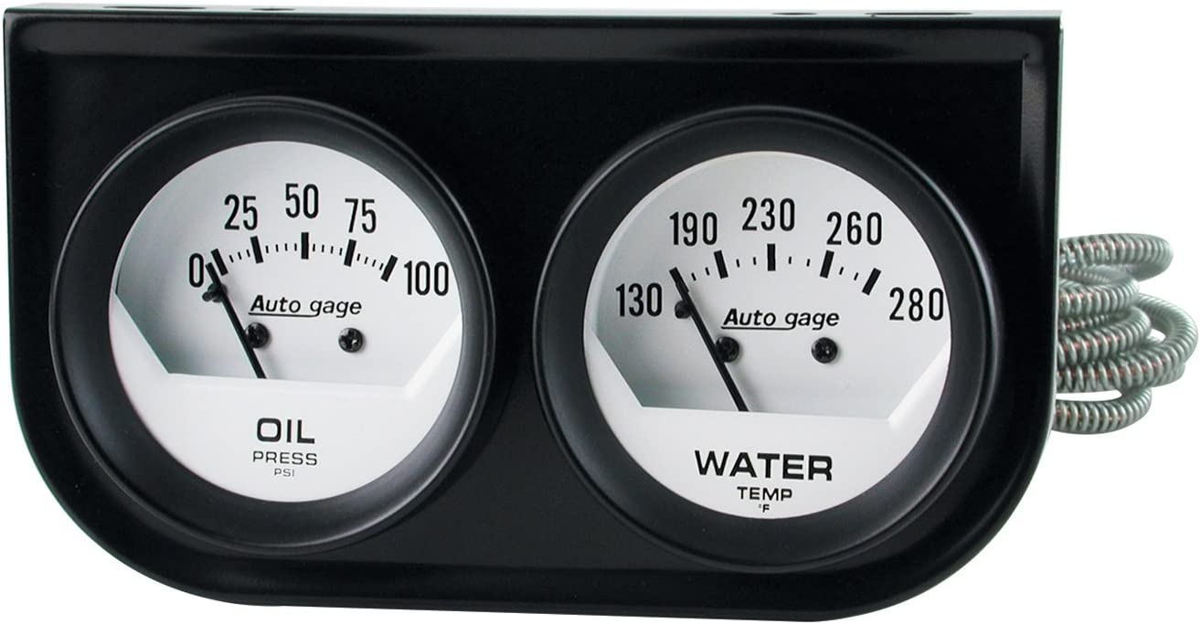 Auto Meter 2392 Autogage Black Oil//Water Gauge with Steel Console