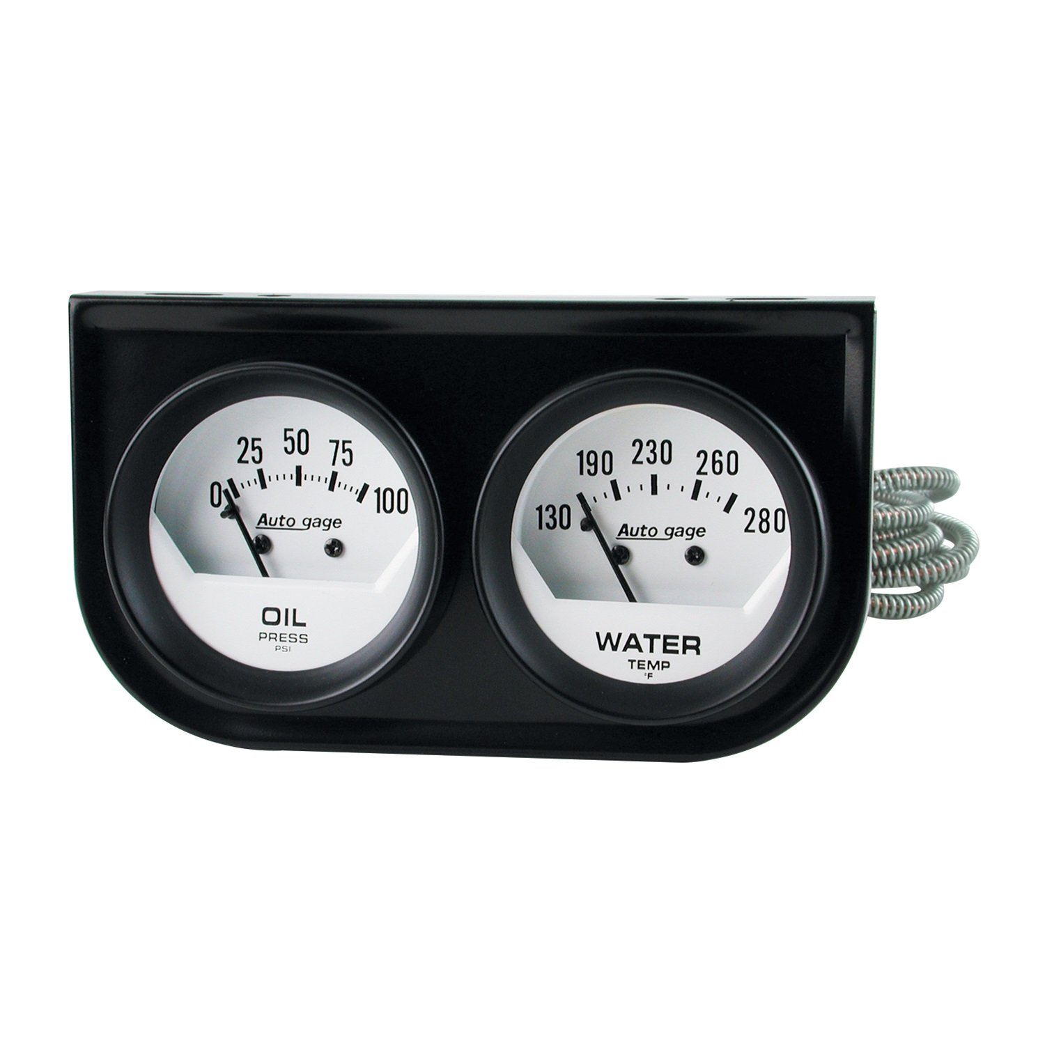 Auto Meter 2323 Autogage White Oil//Water Gauge with Black Console
