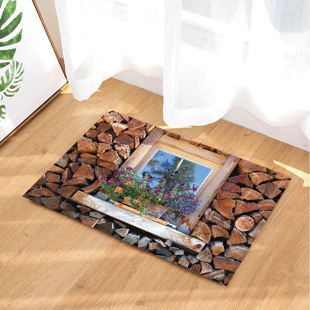 Log Cabin Bath Rugs By GoHeBe Feature House Wooden Wall And Window Flower Non-Slip Doormat Floor Entryways Indoor Front Door Mat Kids Bath Mat 15.7x23.6in Bathroom Accessories