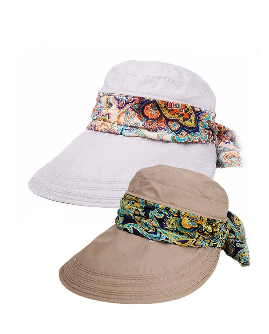 Roll Up Wide Brim Sun Visor UPF 50+ Protección UV Sun Hat con protector de cuello iHomey-Sunhat