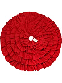 d fantix red christmas tree skirt 48 inches large ruffled burlap tree skirt christmas - Large Christmas Tree Skirts