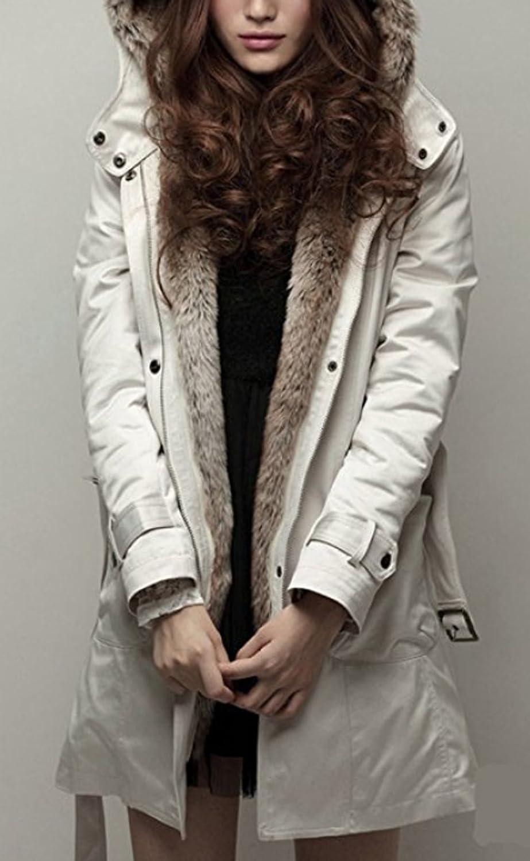 S/&S Women Winter Detachable Fur Lined Coat Outdoor Hood Parka Padded Jackets