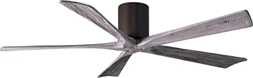 Matthews IR5H-TB-BW-60 Irene 60 Outdoor Hugger Ceiling Fan with Remote Wall Control, 5 Wood Blades, Textured Bronze