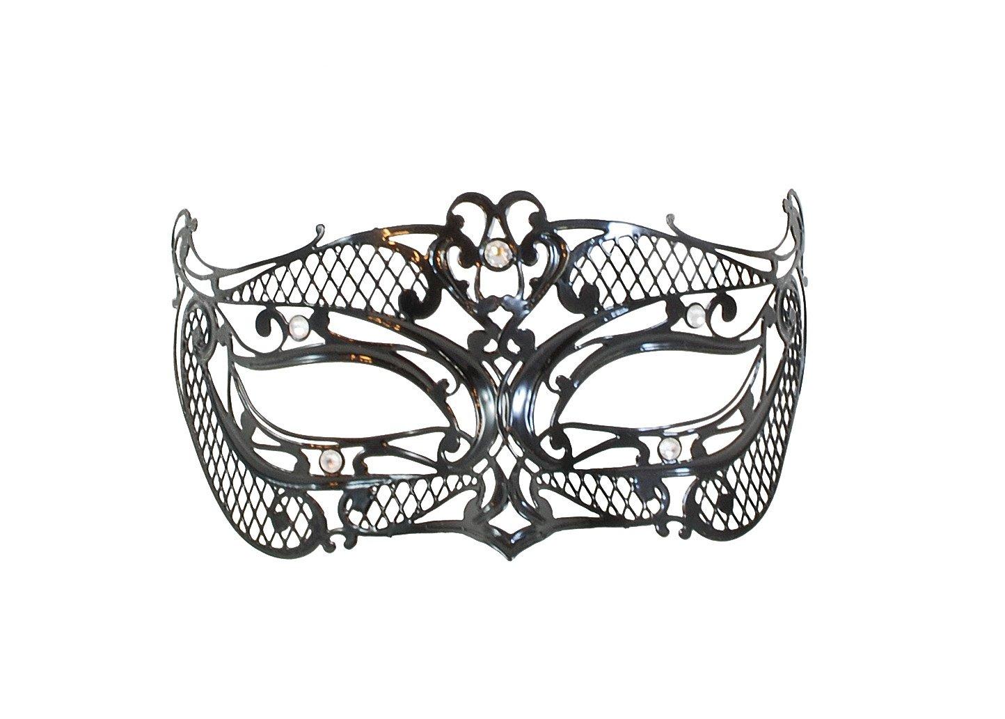 La Fucina dei Miracoli, Maschera in metallo nero con strass Swarovski® originali, 'Lui' Maschera in metallo nero con strass Swarovski® originali Lui