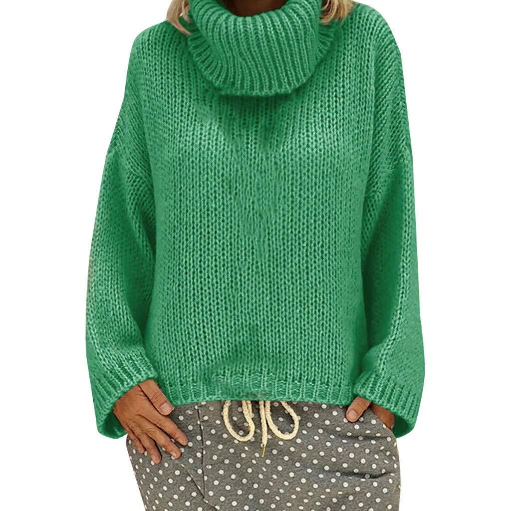 SPORTTIN Women's Oversized Turtleneck Sweater Chunky Knit Mustard Yellow Fall Pullover(Green,Large) by SPORTTIN