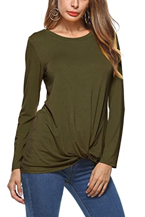 874a30746d7 Image Unavailable. Image not available for. Color: Women O-neck Long Sleeve  Blouse Asymmetrical Hem Front Knot Casual T-Shirt Tunic
