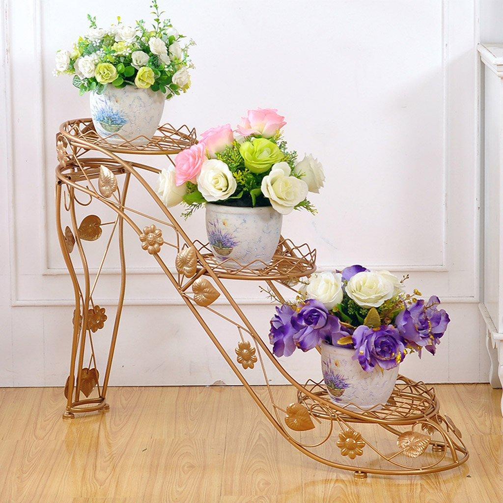 CJH Eisen-Blumen-Racks Mehrstöckige Blumentöpfe Innen- und Outdoor-Wohnzimmer Balkon kreative Schuhe mit hohen Absätzen Flower Shelf (Color : Gold)