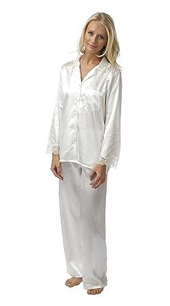 Ladies Charmeuse Satin Lace 2 Piece Pyjamas - Ivory 10-28 (14 16 ... 94825d282