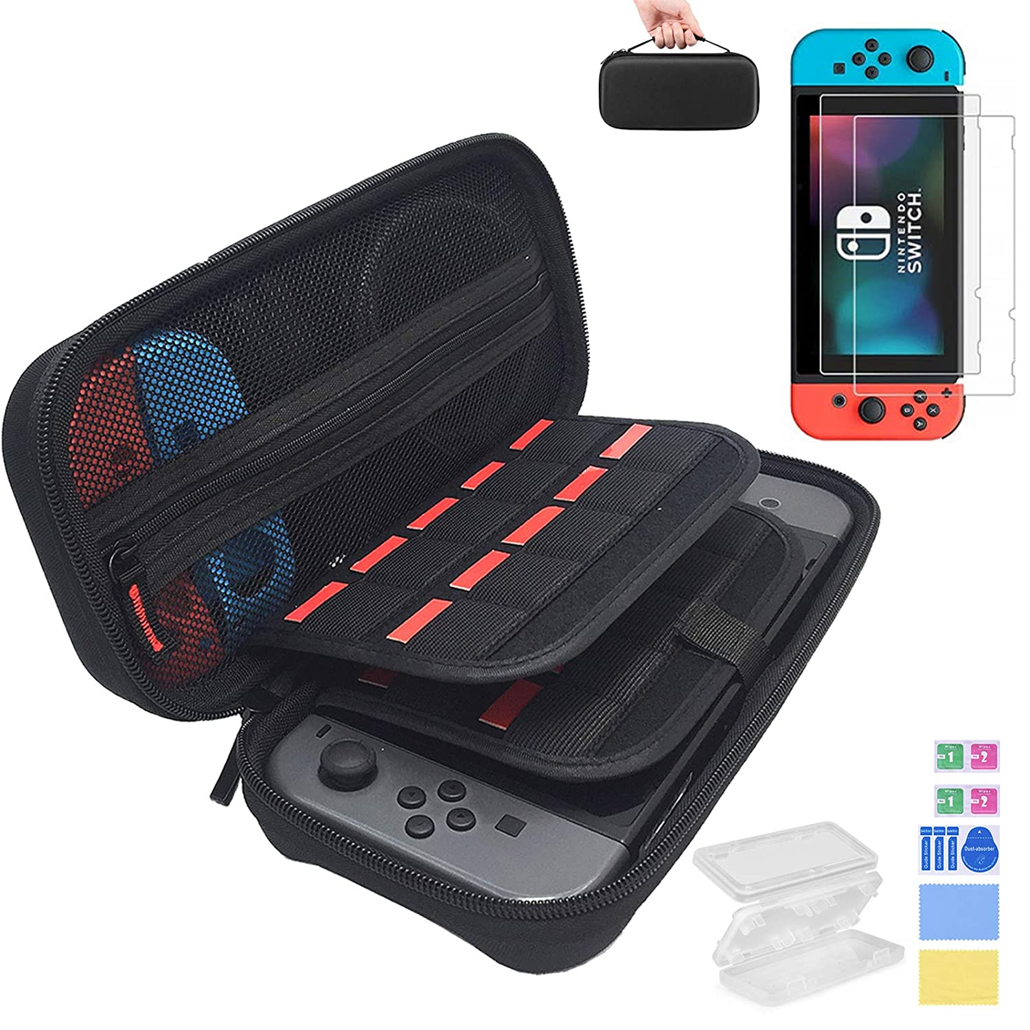IPNOW Nintendo Switch Case with Screen Protectors, Switch Carrying Case with 20 Game Cartridges,2 pcs Tempered Glass Switch Screen Protectors,and 1 pcs Nintendo Switch Game Holder for 4 Game Cards