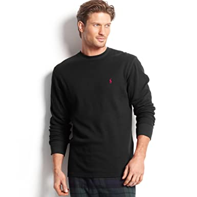 b86aae1a3d2cf Polo Ralph Lauren Long-Sleeved Waffle-Knit Crewneck Thermal in Black  (XX-Large)  Amazon.co.uk  Clothing
