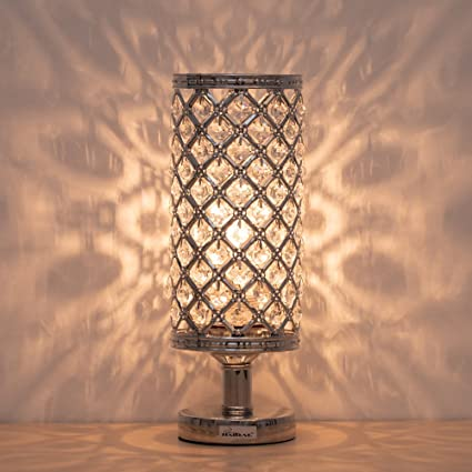 HAITRAL Crystal Table Lamp   Silver Bedside Desk Lamp With Crystals Lamp  Shade Metal Base Decorative
