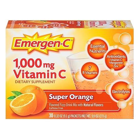 Alacer - Emergen-C vitamina C naranja Super 1000 mg - 30 Paquetes