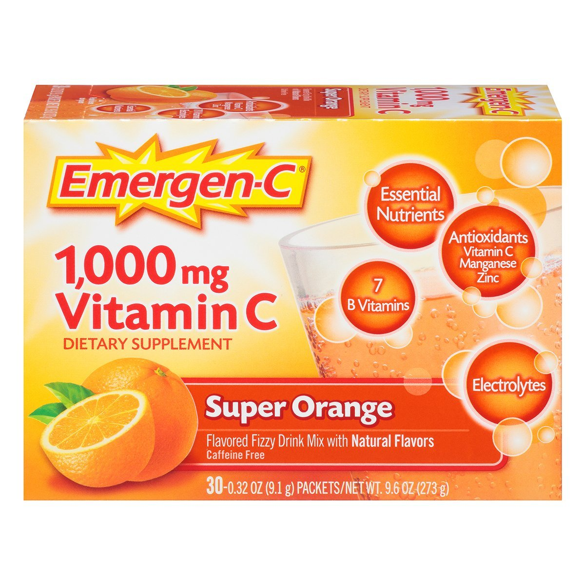 Emergen-C (30 Count, Super Orange Flavor, 1 Month Supply) Dietary Supplement Fizzy Drink Mix with 1000mg Vitamin C, 0.32 Ounce Packets, Caffeine Free