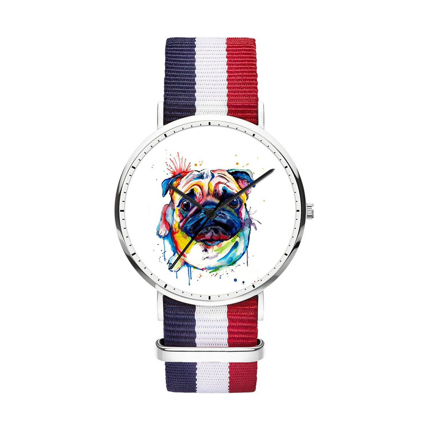 FELOOWSE Girls Watches, Women Watches, Sliver Slim Minimalist Imported Japanese Quartz PracticalWaterproof Unique Personalized Youth Fashion Design Cute Watches for Women.- Pug