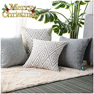 "HPUK Plaid Polyester Decorative Pillow Covers Throw Pillows Covers Couch Pillowcase Cushion Cover Couch, 17X17"" with 4 PCS, Grey"