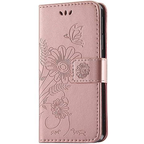 kazineer Funda Honor 6X, Honor 6X Funda Cuero Flor Patrón Cartera Carcasa para Huawei Honor 6X Caso - Oro Rosa
