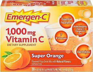 Emergen-C (30 Count, Super Orange Flavor, 1 Month Supply) Dietary Supplement Fizzy Drink Mix with 1000mg Vitamin C, 0.32 Ounce Packets, Caffeine Free