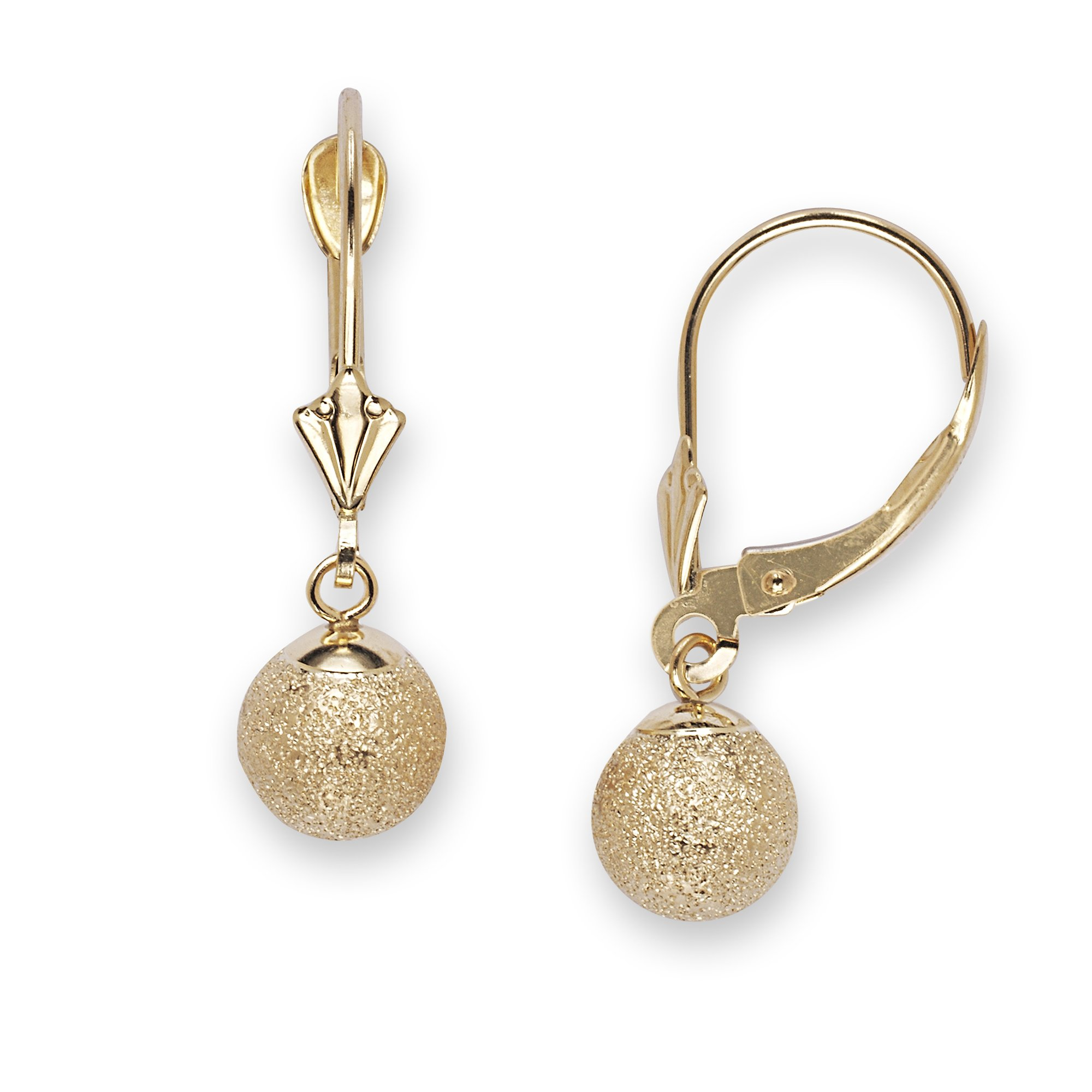 14k Yellow Gold Medium Fancy Ball Drop Leverback Earrings - Measures 24x7mm
