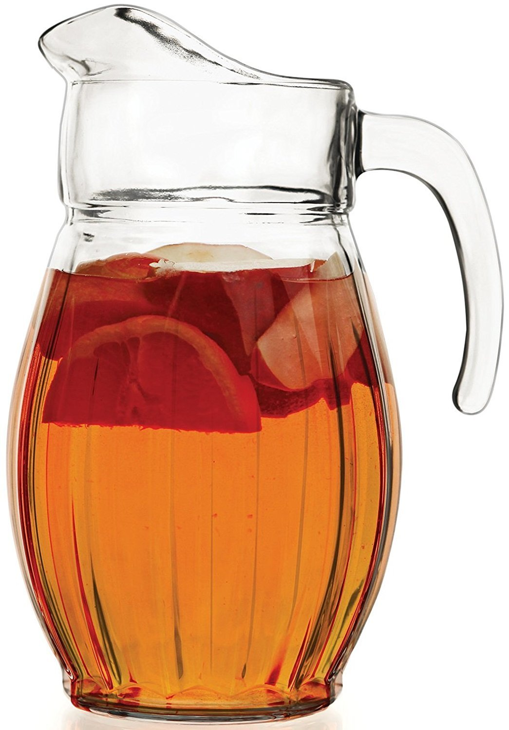 Circleware 66663 Cornado Glass Carafe Large 8 Cup Water Pitcher with Handle Drinking Dispenser Glassware for Beer, Wine and Kitchen & Home Decor Bar Dining Beverage Gifts, Lead Free, 66 oz,
