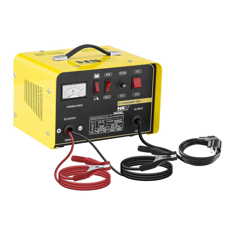 MSW S-CHARGER-10A Avviatore di Emergenza per Auto Caricabatterie Mantenitore di Carica (6/12V, A 12-92 Ah, 230 V, 0,4 kW, Display analogico, per batterie al Piombo Acido, Grigio) MSW Motor Technics