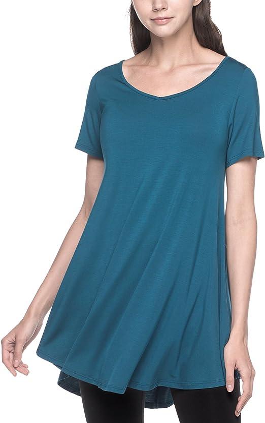 Lapasa Damen Lange Longshirt Kurzarm Basic T Shirts Mehrweg L020